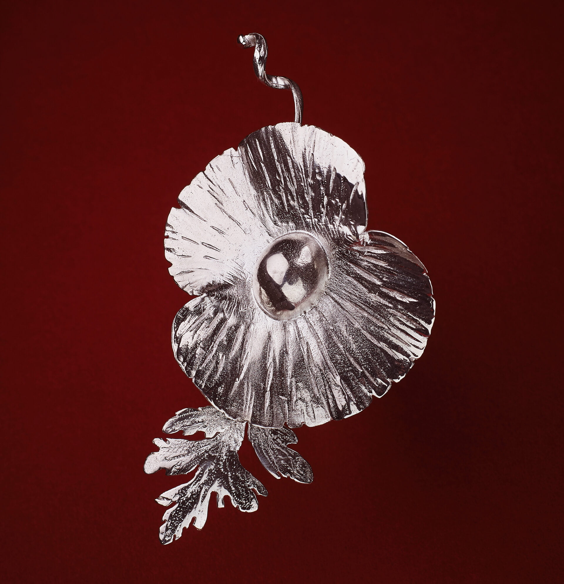 commercial Jewellery photography Birmingham hand made silver poppy brooch