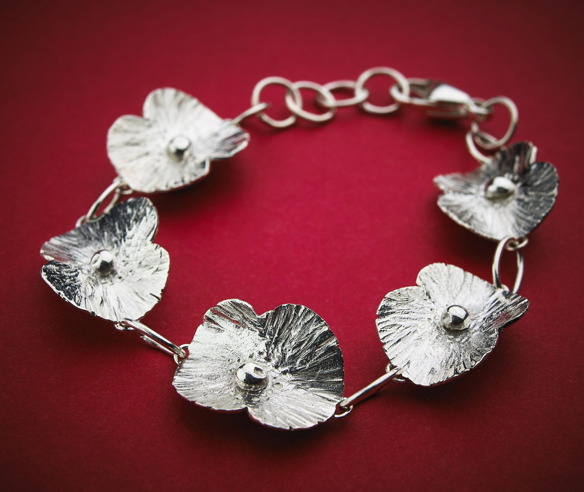 commercial Jewellery photography Birmingham hand made poppy bracelet